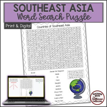 COUNTRIES OF SOUTHEAST ASIA Word Search with Answer Key
