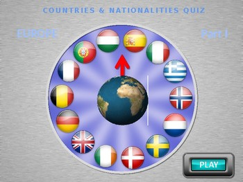 COUNTRIES WHEEL QUIZ PART 1 (with real spinning motion). PowerPoint