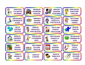 COUPONS FOR CLASSROOM MANAGMENT IN SPANISH