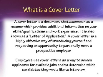 """COVER LETTER POWERPOINT  """"Cover & Follow-Up Letters Employers Will Read"""""""