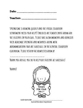 COVER SHEET FOR TEACHER INPUT