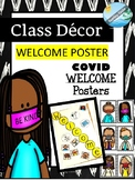 COVID class decorations - WELCOME poster with Mask happy teachers