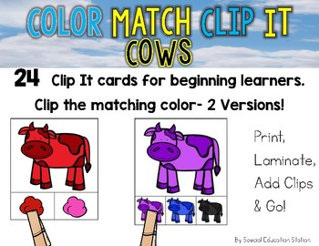 COWS Color Match Clip It {A Beginning Work Task)