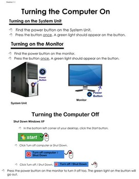 COmputer Handout - Turning on and off the computer