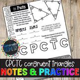 CPCTC Congruent Triangles Doodle Guide & Practice Worksheet; Geometry