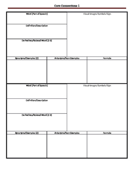 CPM 6th Grade Core Connections (Vocabulary Boxes)
