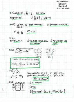 CPM CC Geometry Chapter 4 HW Answer Keys by Mrs Stafford's ...