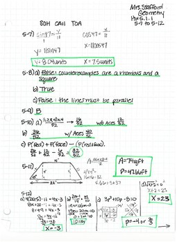 CPM CC Geometry Chapter 5 HW Answer Keys
