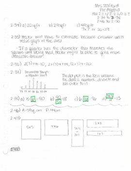 CPM CC1 Chapter 2 Homework Answer Keys