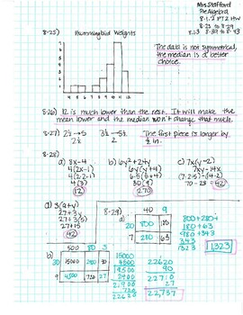 CPM CC1 Chapter 8 Homework Answer Keys by Mrs Stafford's ...