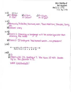 CPM CC2 Chapter 1 HW Answer Keys