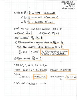 CPM CC2 Chapter 5 HW Answer Keys by Mrs Stafford's Math ...