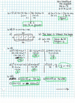 CPM CC2 Chapter 6 HW Answer Keys by Mrs Stafford's Math ...
