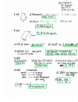 CPM CC2 Chapter 9 HW Answer Keys by Mrs Stafford's Math ...