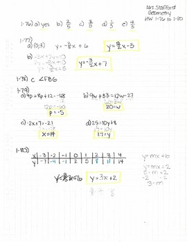 CPM CCG Geometry Chapter 1 Homework Answer Keys by Mrs ...