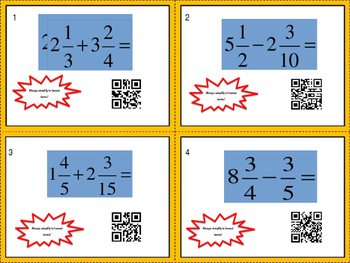 Adding and Subtraction Mixed Numbers Task Cards CPM Check Point 4 Course 1