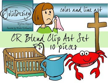 CR Blend Phonics Clip Art Set - Color and Line Art 10 pc set