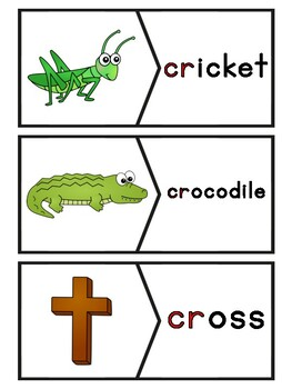 CR Blends Phonics Center:  Picture and Word Match Puzzles