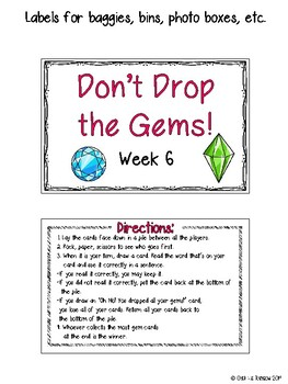 CR Success 2nd Grade Week 6 Don't Drop the Gems! A Closed Syllables Game