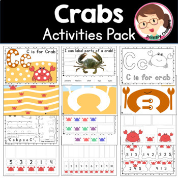 Ocean and Under the Sea - Crabs Prek Literacy and Maths Activities