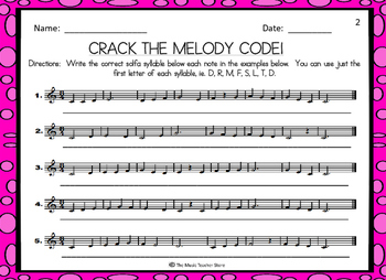 CRACK THE MELODY CODE!  MELODIC DECODING ACTIVITY FOR CHORUS/CHOIR (3 PAGE SET)
