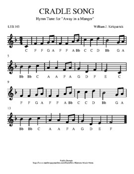 """CRADLE SONG: Hymn Tune for """"Away in a Manger"""""""