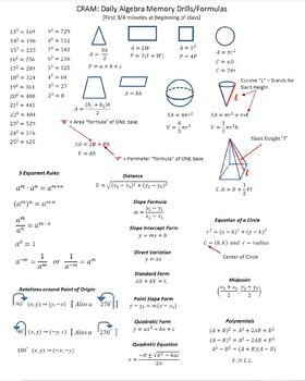 CRAM: Daily Algebra Memory Drills/Formulas