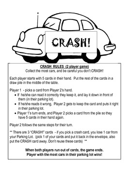 CRASH! - easy sight words  - center activity