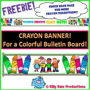 CRAYON BANNER: Bulletin Board Display BACK TO SCHOOL!