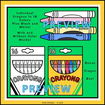 CRAYON CLIP ART - 16 Full Color Crayons and Box + Black and White Versions