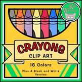 CRAYON CLIP ART - 16 Full Color Crayons and Box + Black an