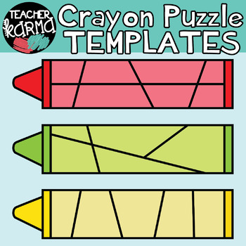 CRAYON Puzzle Templates - Puzzle Clipart - Make Your Own