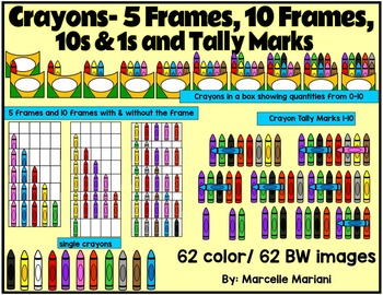 Place value & ten frames and tally marks clipart- Counting Crayons clipart