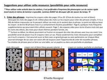 Activités de mots fréquents - CRAYONS des phrases à 3 mots - French sight words