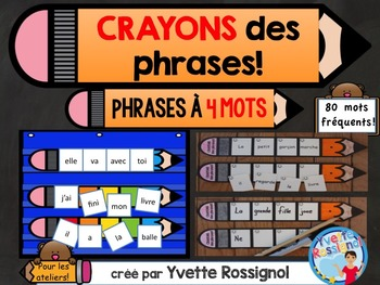CRAYONS des phrases! (4 mots) mots usuels, French sight words, ateliers