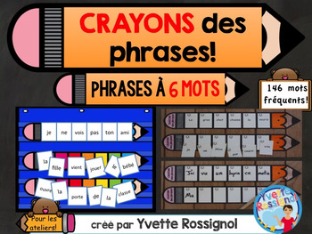 CRAYONS des phrases! (6 mots) mots usuels, French sight words, ateliers