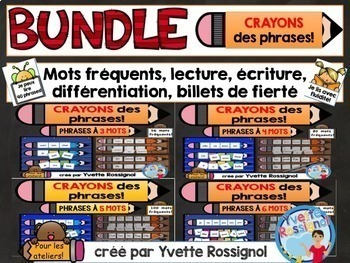 CRAYONS des phrases! (BUNDLE) mots usuels, French sight words, ateliers