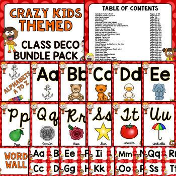 CRAZY KIDS Theme Classroom Decor Mega Bundle Pack EDITABLE BACK TO SCHOOL