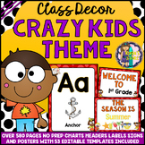 CRAZY KIDS Theme Classroom Decor Mega Bundle Pack EDITABLE BACK TO SCHOOL