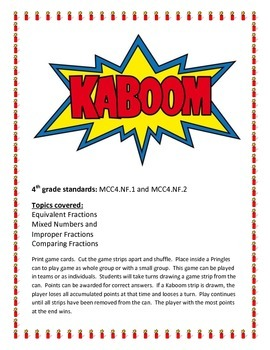 CRCT Math Fraction KABOOM review game