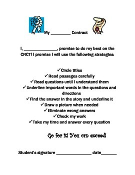 CRCT and Standardized Test Strategies and Contract