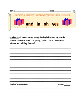 CREATE A CHRISTMAS STORY: USE HIGH FREQUENCY WORDS GRADES