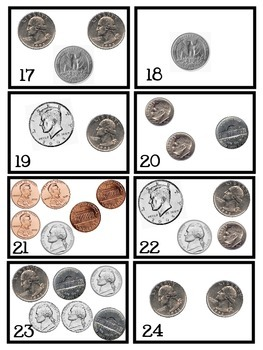 CREATE A DOLLAR coin / money math game / center / task cards Common Core 2.MD.8