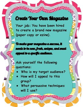 CREATE YOUR OWN MAGAZINE/EZINE PROJECT FOR MIDDLE SCHOOLERS