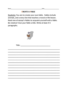 CREATING A FABLE ACTIVITY