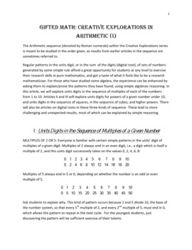 GIFTED MATH: CREATIVE EXPLORATIONS IN ARITHMETIC (I): Units Digits in Multiples
