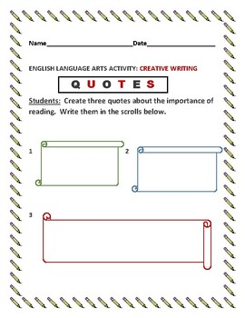 CREATIVE WRITING ACTIVITY:QUOTES