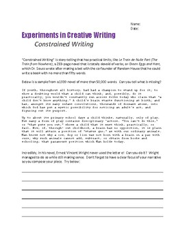 CREATIVE WRITING Constrained Writing -GADSBY