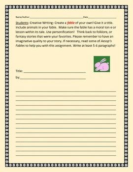 CREATIVE WRITING: WRITING A FABLE: GRADES 4-6