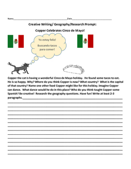 CREATIVE WRITING/GEOGRAPHY PROMPT: COPPER THE CAT & CINCO DE MAYO